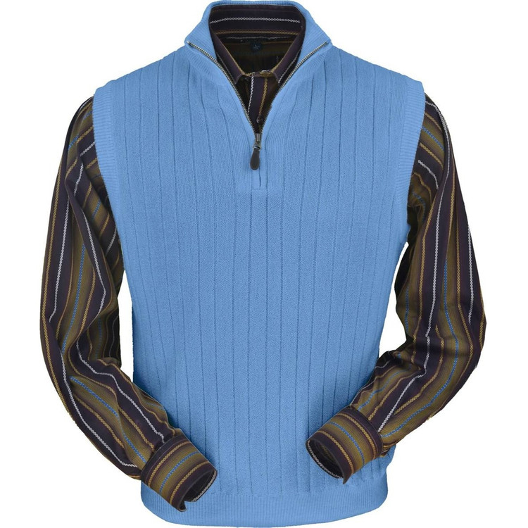Baby Alpaca Link Stitch Ribbed Half Zip Vest in Atlantic Blue by Peru Unlimited