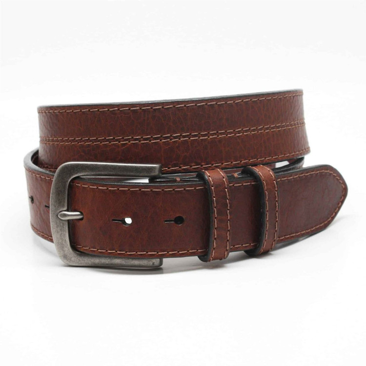 Oiled Shrunken Bison Leather Belt in Brown by Torino Leather Co.