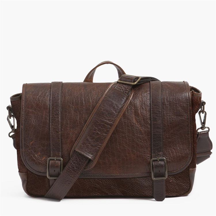 Carlton Courier Bag in American Bison by Moore & Giles