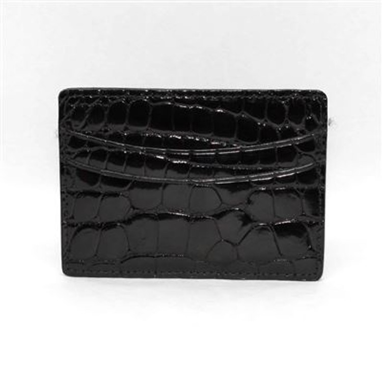Genuine Alligator Card Case in Black by Torino Leather Co.
