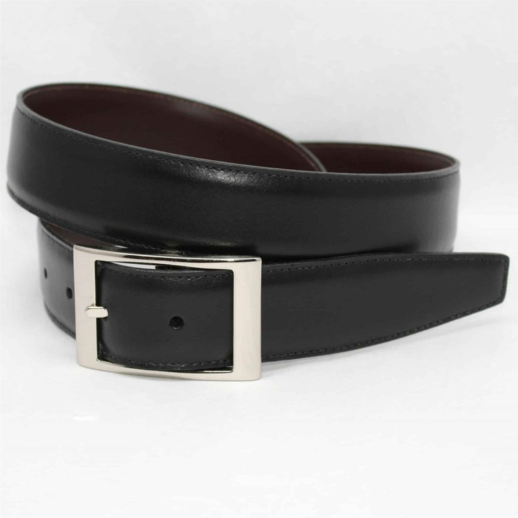 Italian Aniline Leather Belt in Reversible Black to Brown by Torino Leather Co.