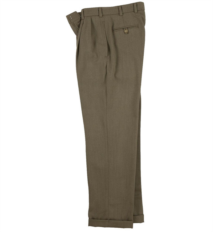Worsted Wool Cavalry Twill Pant - Model M2P Standard Fit Reverse Pleat in Khaki by Bills Khakis