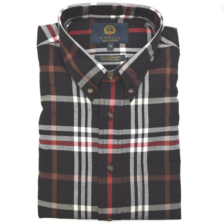 Black, Red, and White Tartan Button-Down Shirt by Viyella