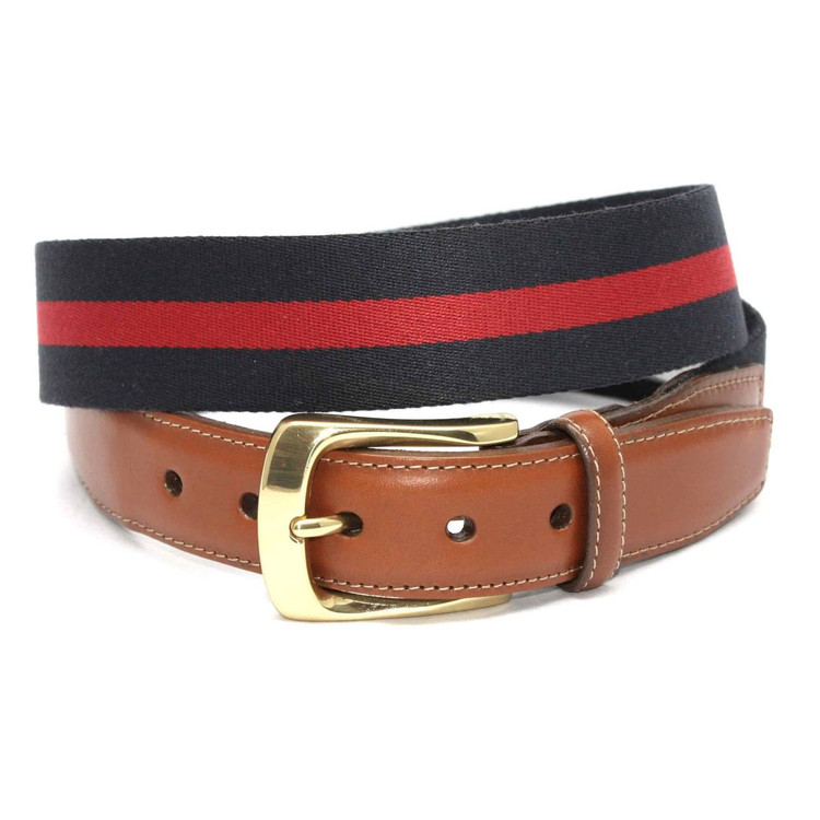 European Ribbed Striped Surcingle Belt in Navy/Red by Torino Leather Co.