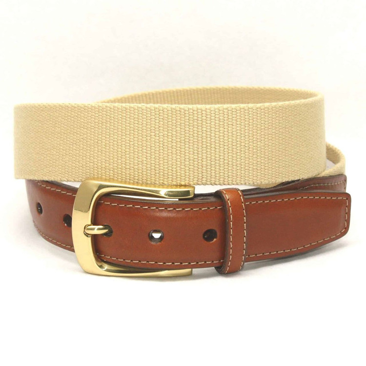 European Ribbed Surcingle Belt in Camel by Torino Leather Co.