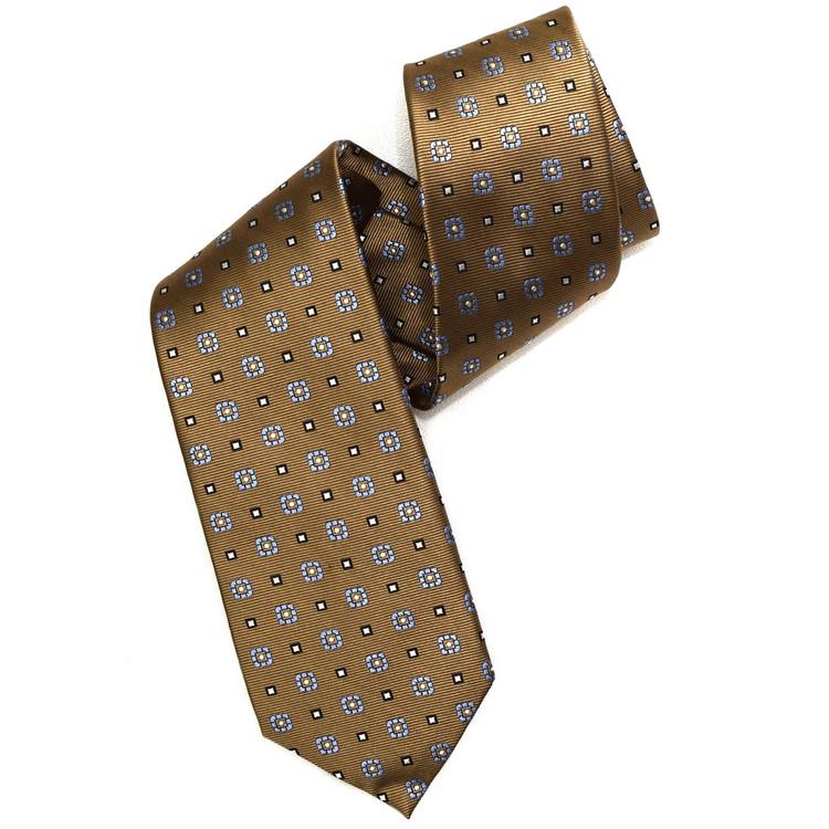 Tan, Blue, and Black Neat Woven Silk Tie by Robert Jensen