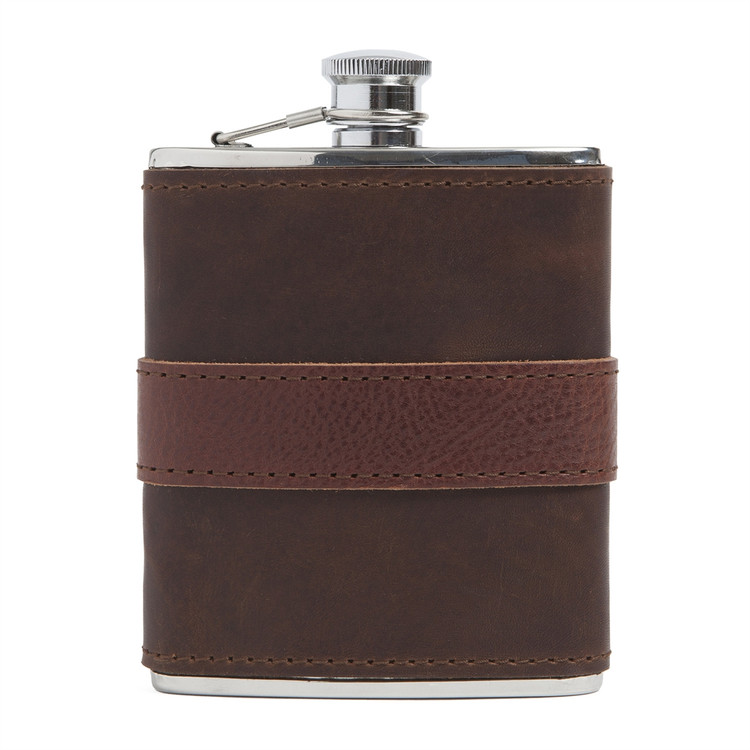 Leather-Wrapped Stainless Steel Flask in Brown with Chocolate Trim by Moore & Giles