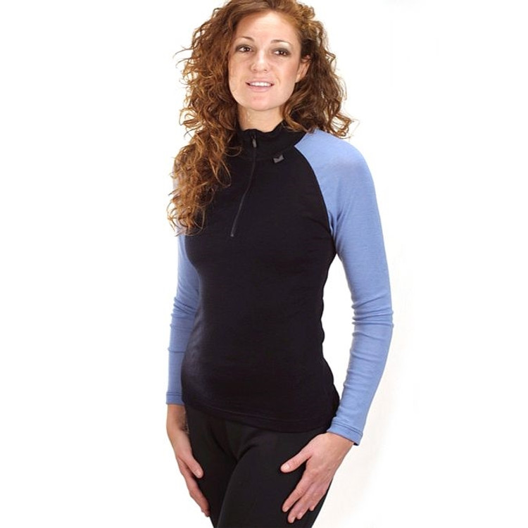 Women's Merino Long Sleeve Baselayer w/ Zip in Black/Blue (Size X-Large) by Dale of Norway