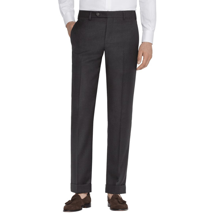'Devon' Flat Front Lower Rise Super 120's Wool Serge Pant in Charcoal by Zanella