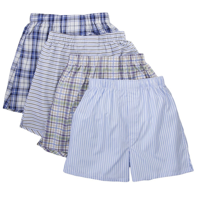 Cotton Boxer in Assorted Stripes & Plaids (4 Pack) by Robert Talbott