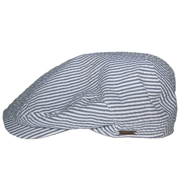 Blue and White Stripe Seersucker Newsboy Cap (Size 60) by Wigens