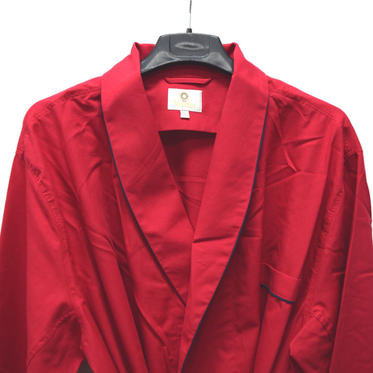 Gentleman's Genuine Cotton and Wool Blend Robe in Solid Red with Navy Piping by Viyella