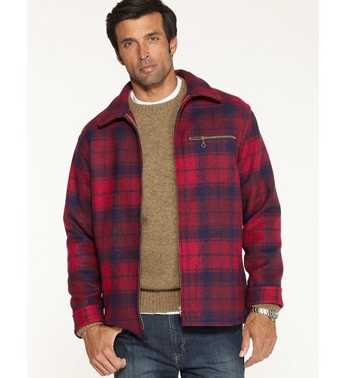 Wilkes Wool Jacket in Red and Navy Plaid by Pendleton