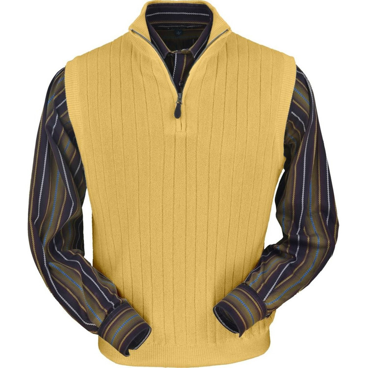 Baby Alpaca Link Stitch Ribbed Half Zip Vest in Gold by Peru Unlimited