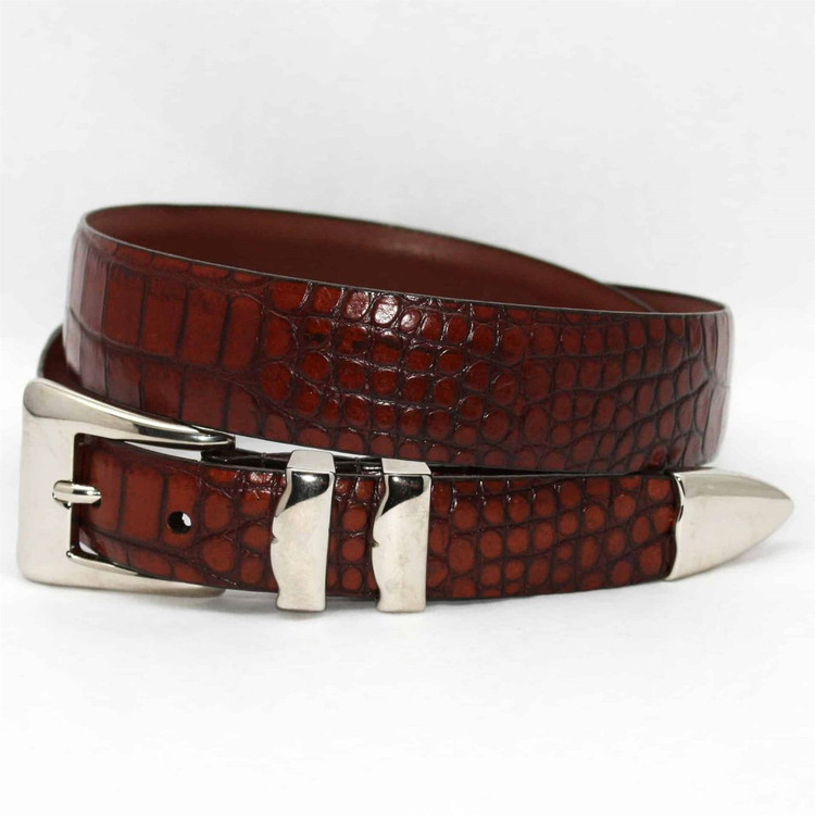 Alligator Embossed Calfskin Belt with 4-Piece Buckle Set in Cognac (EXTENDED SIZES) by Torino Leather Co.