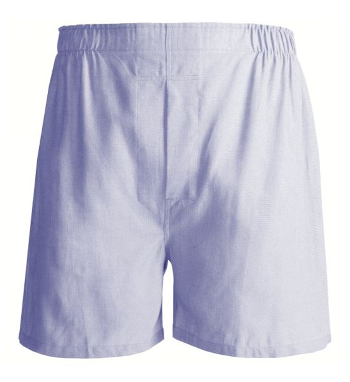Solid Pinpoint Cotton Boxer in Blue by Tiger Mountain