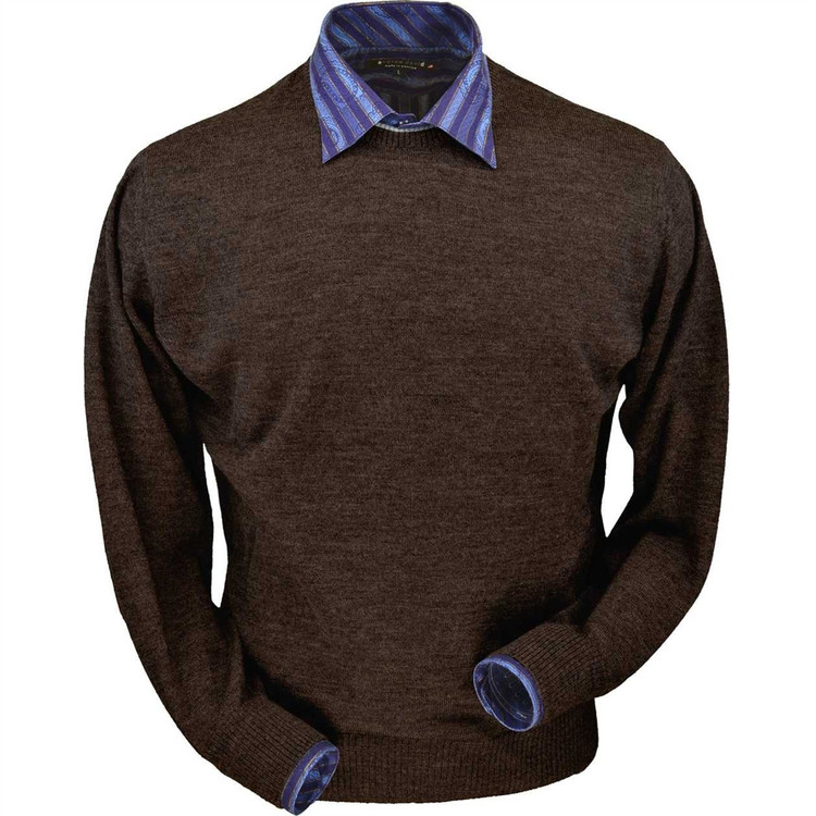 Royal Alpaca Crew Neck Sweater in Chocolate Heather by Peru Unlimited