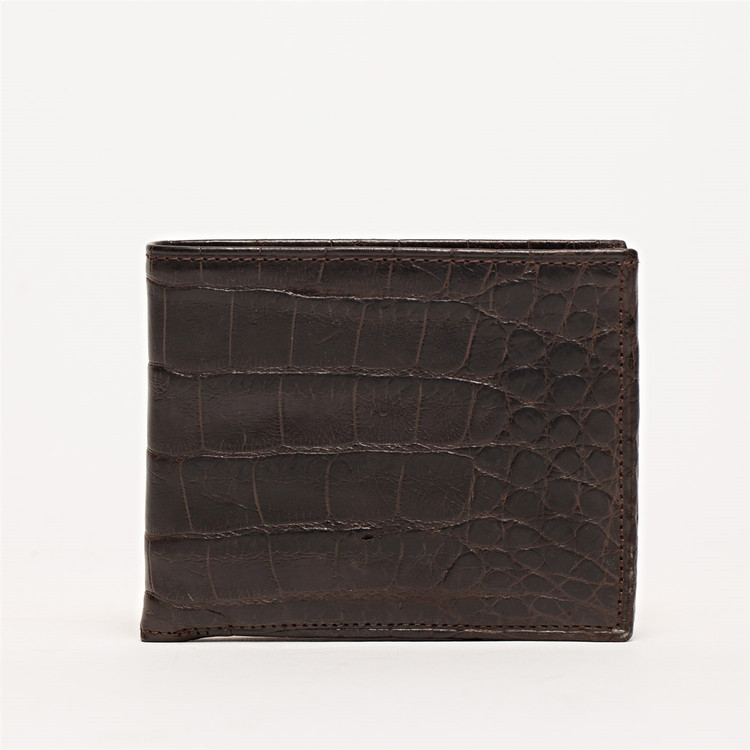 Bi-Fold Wallet in Chocolate Alligator by Moore & Giles