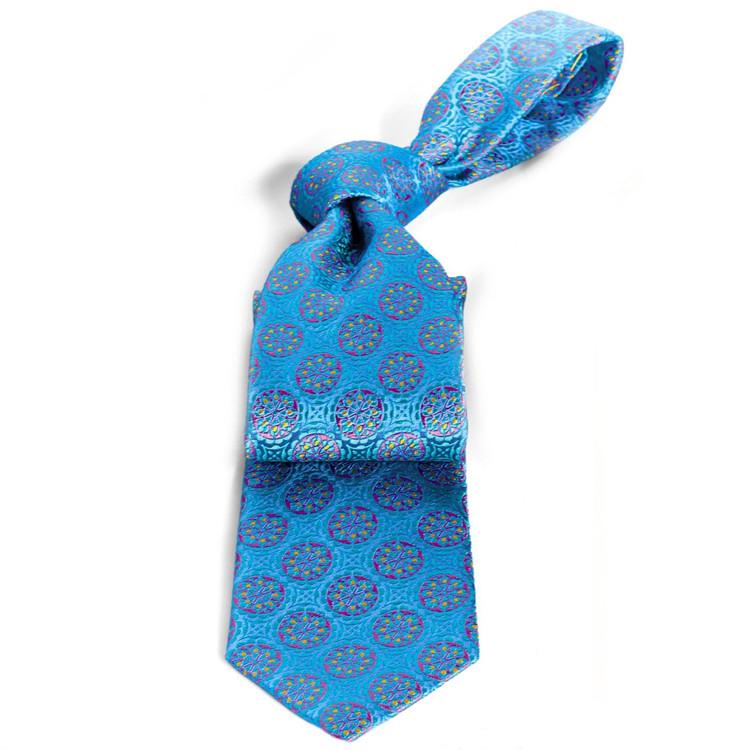 Blue and Aqua Medallion 'Connoisseur' Silk Estate Tie by Robert Talbott