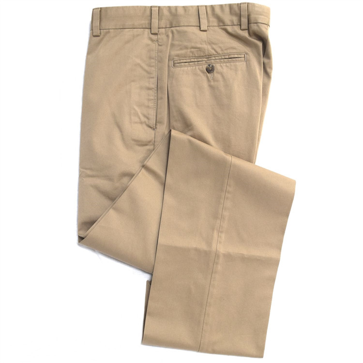 Vintage Twill Pant - Model F2 Standard Fit Plain Front in British Tan by Hansen's Khakis