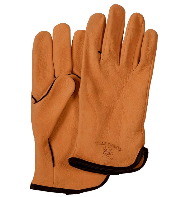 Deerskin Leather Fleece Lined Driving Gloves in Saddle by Bills Khakis