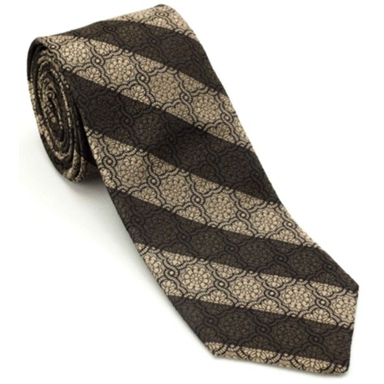 Striped 'Embossed Geometric' Woven Silk Estate Tie in Brown by Robert Talbott