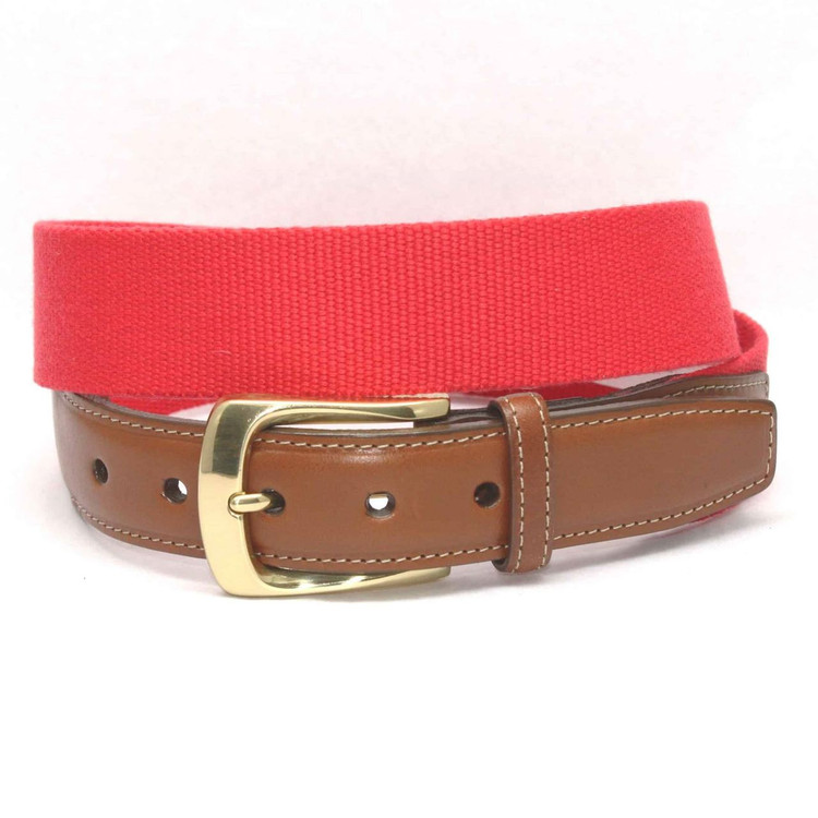 European Ribbed Surcingle Belt in Red by Torino Leather Co.