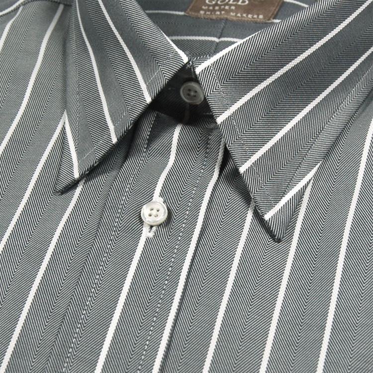 'Gitman Gold' Charcoal and White Herringbone Stripe Dress Shirt (Size 16 - 35) by Gitman Brothers