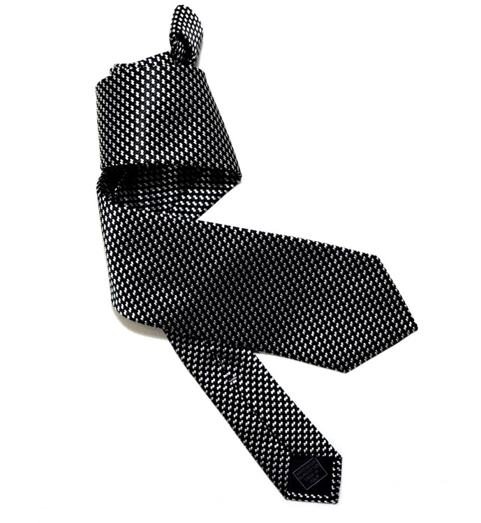 Black and Pale Silver Mogador Houndstooth Woven Silk Tie by Robert Jensen
