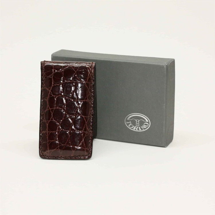 Alligator Magnetic Money Clip in Brown by Torino Leather Co.