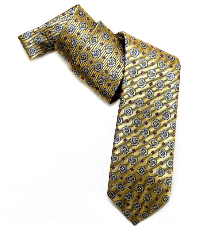 Gold, Blue, and Red Medallion Woven Silk Tie by Robert Jensen