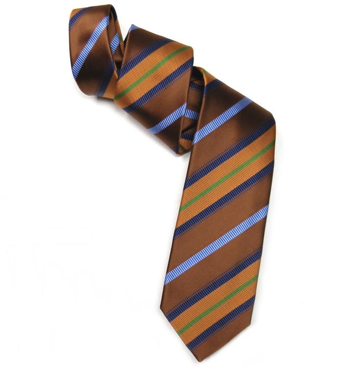Brown, Orange, and Blue Mogador Stripe Woven Silk Tie by Robert Jensen