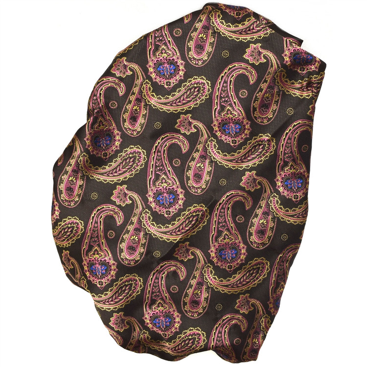 Custom Made Brown, Pink, and Gold Paisley Seven Fold Woven Silk Tie by Robert Talbott