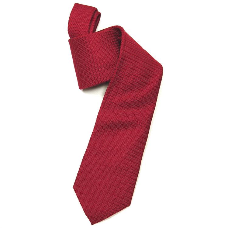 Red Grenadine Woven Silk Tie by Robert Jensen