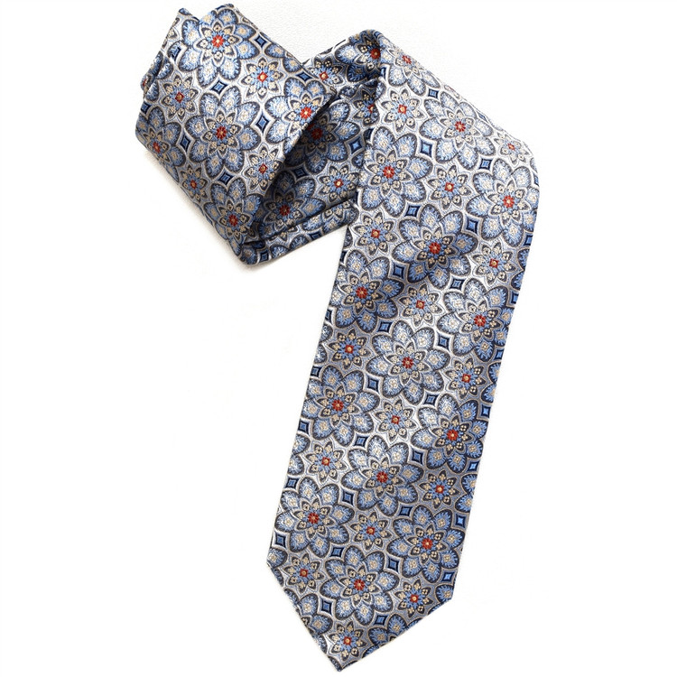 Grey and Blue Floral Medallion Woven Silk Tie by Robert Jensen