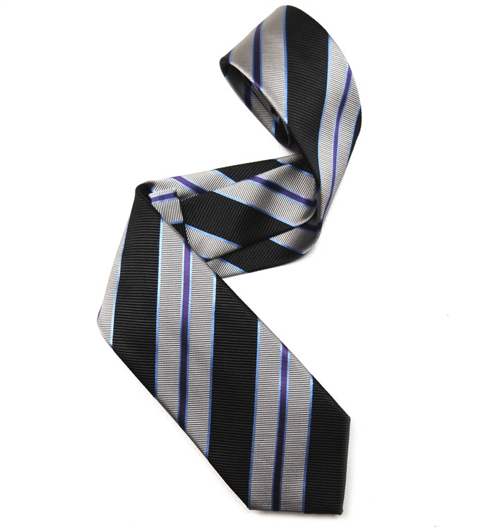 Black, Grey, and Purple Mogador Stripe Woven Silk Tie by Robert Jensen