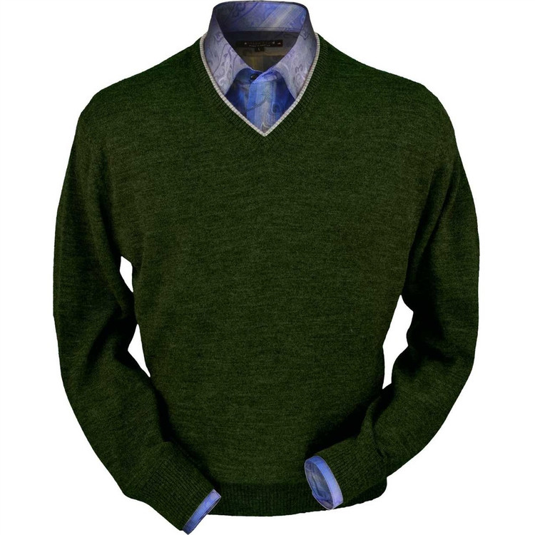 Royal Alpaca V-Neck Sweater in Hunter Green Heather by Peru Unlimited