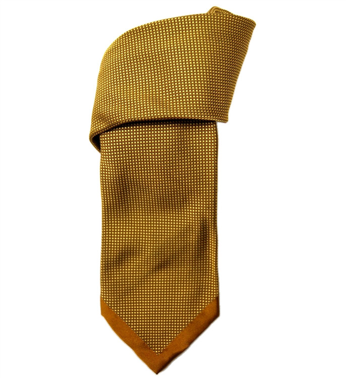 Gold and Black Square Dot Seven Fold Silk Tie by Robert Talbott