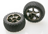 Traxxas 2.2 Alias Tyres & Tracer Wheels Assembled, Black Tyres with B/ Chrome wheels