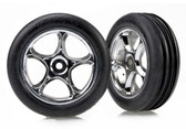 Traxxas Tires & wheels, assembled (Tracer 2.2'' chrome wheels, Alias ribbed 2.2'' tires) (2) (Bandit front, soft compound w/ foam inserts) 2471R