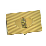 Our business card holders are the perfect gift for everyone! A unique, professional way to show off your organization's shield. A substantial piece that is well constructed. The shield crest enameled medallion is attached in a manner which gives a handsome 3D effect. Holds up to approximately 11 business cards.
