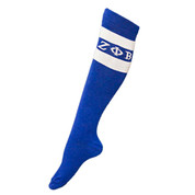 Our New GreekFeet Knee High Socks give sorority members  the chance to bring fashion to their feet. The perfect combination  of comfort and style, the socks are 80 percent cotton, 17 percent polyester and  3 percent elastane. One size fits most.