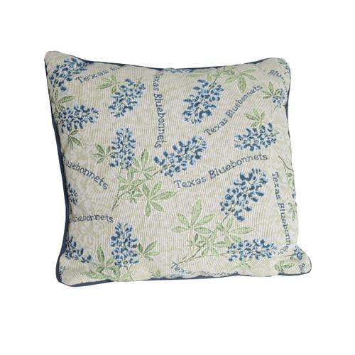 The Bluebonnet Tapestry Pillow features 100% soft cotton.
