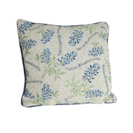 The Bluebonnet Tapestry Pillow features 100% soft cotton.