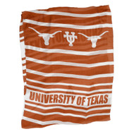 """Sheer Scarf in Burnt Orange and White Stripes with """"University of Texas"""" and Texas Longhorns printed every 4 or 5 stripes"""