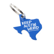 Pop-A-Top State of Texas Key Chain in Royal Blue Stamped from 13 Gauge Steel painted with Keep Austin Weird in White