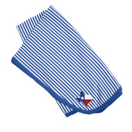 Wrap 'em in Texas with this  Blue & White Striped Blanket Featuring an Embroidered State of Texas Shaped Flag in the Corner