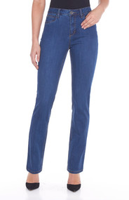"""5 pockets/zipper front/ belt loops/embroidered detail back pockets Gently curved shape follows body contours Waistband sits slightly below the body's natural waist Tailored hips and slimmer thighs create a long lean look 33"""" inseam 76% cotton 22% polyester 2% spandex  Machine Wash  Style #2371250"""