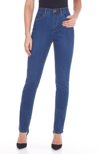 """The Suzanne slim leg jean features five pockets with zipper front and one button, traditional belt loops and embroidered detail back pockets This natural fit regular rise features a slim leg The gently curved shape follows the body's contours The bottom of the waistband sits slightly below the body's natural waist Tailored hips and slimmer thighs create a long lean look while ensuring maximum comfort 30"""" inseam   76% cotton 22% polyester 2% spandex 9oz denim  Machine Wash  Style#8473250"""
