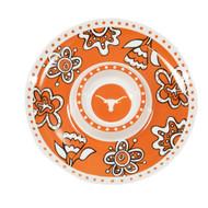 """Orange, White & Black 14"""" Melamine Chip & Dip Server with Floral & Longhorn Logo Design"""